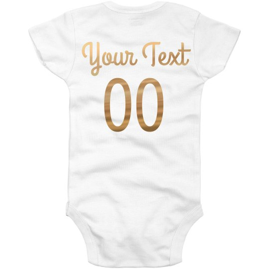 3630b10ed Custom Rose Gold Name & Number Baby Infant Onesie