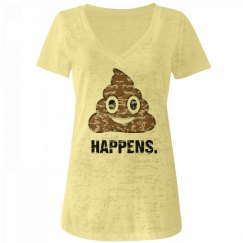sh*t happens emoji v-neck