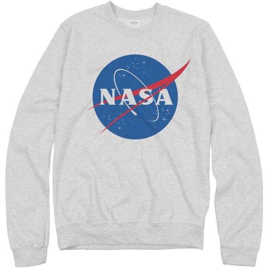 f5e1dd210d8 NASA Logo Grey Sweater Unisex Basic Promo Crewneck Sweatshirt