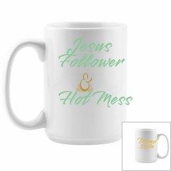 Jesus Follower & Hot Mess Mug - Mint & Yellow