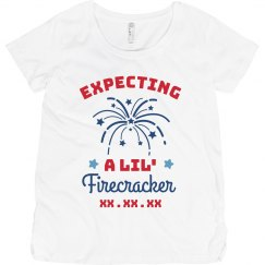 Expecting a Lil' Firecracker Custom Date Maternity Tee