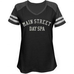 Main Street Day Spa Ladies Relaxed Fit V-Neck Tee