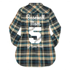 Cute Baseball Mom Flannel