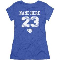 Trendy Baseball Mom or Girlfriend Shirt W Custom Back