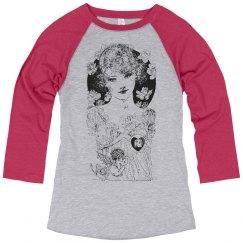 Beautiful Lady Black & White w/ Cherubs & Flowers