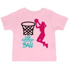 Pink toddler tee w/girl basketball graphic