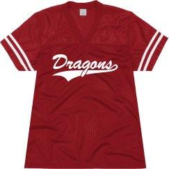 Cortland red dragons shirt.