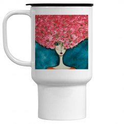 Girl with pink flowers travel mug