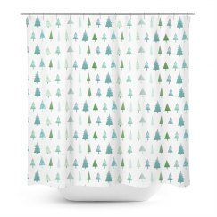 Christmas Tree Print Shower Curtain