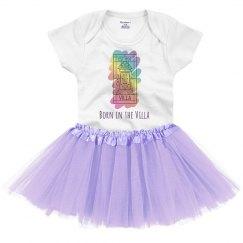 Born in the Villa Rainbow Logo Onesie with Tutu