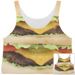 All Over Burger Crop Top