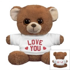 Love You Custom Couples Stuffed Bear