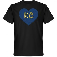 I Heart KC - black/royal - ultrasoft - distressed