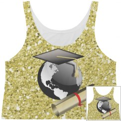 Graduation Cap World Globe & Diploma Gold