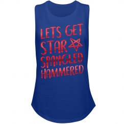 Metallic Red Star Spangled Hammered