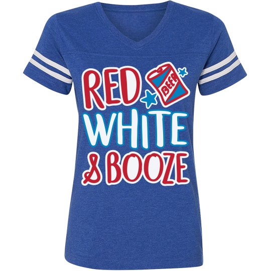 eeef8d5f Red, White, & Booze July 4th Ladies Relaxed Fit Vintage Sports T-Shirt