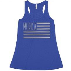 Silver Metallic Murica USA Flag