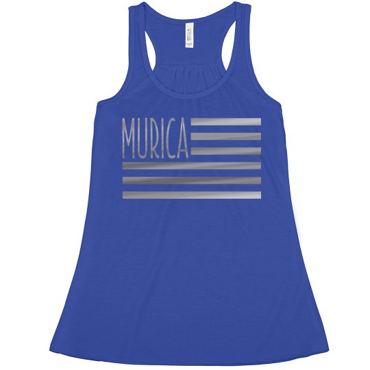 6ab2cbb630360 Silver Metallic Murica USA Flag Ladies Flowy Metallic Boxy Cropped Tank Top