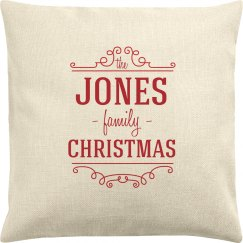Custom Name Family Christmas Pillow