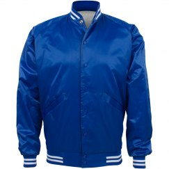 Inexpensive Sporty Baseball Bomber Jacket in Royal