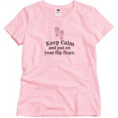 Keep Calm Flip Flops - w pink
