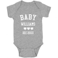 Custom Baby Announcement Last Name Onesie