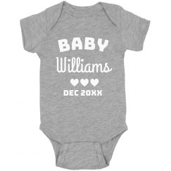 Custom Baby Announcement Last Name Bodysuit