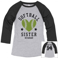 Custom Raglan Softball Sister