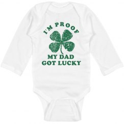 Lucky Dad Proof Long Sleeve Onesie