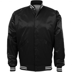 Inexpensive Sporty Baseball Bomber Jacket in Black