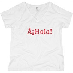 ¡Hola! V-Neck Tee Red Text