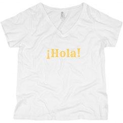 ¡Hola! V-Neck Tee Yellow Text
