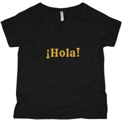 ¡Hola! Black V-Neck Tee Yellow Text
