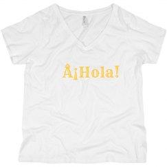 ¡Hola! Black V-Neck Tee Yellow Text