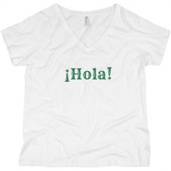 ¡Hola! V-Neck Tee Green Text