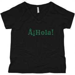 ¡Hola! Black V-Neck Tee Green Text