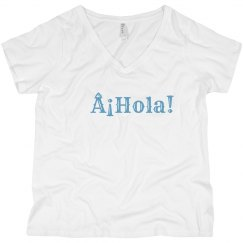 ¡Hola! V-Neck Tee Light Blue Text