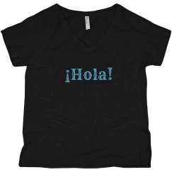 ¡Hola! Black V-Neck Tee Light Blue Text