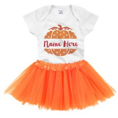 Polka Dot Pumpkin Onesie with Tutu Halloween Baby