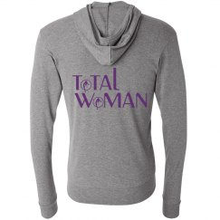 Total Woman Logo Hoodie - dark purple on light gray