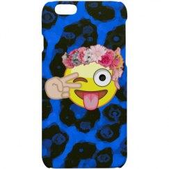 Blue Cheetah Silly Emoji