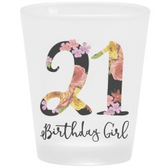 21 Birthday Girl Frosted Shot Glass