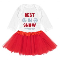 Best In Snow Holiday Custom Bodysuit with Tutu