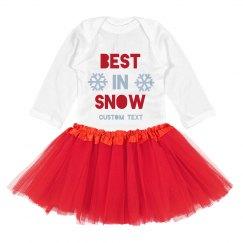 Best In Snow Holiday Custom Bodysuit with Tutu