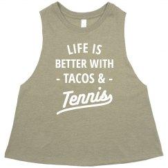 Tacos & Tennis Racerback Crop