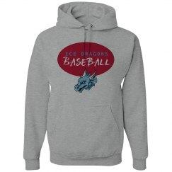 #34-Unisex Hoodie-Gildan Brand-Red on Gray