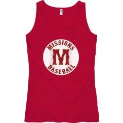 Scarlet women's tank Missions Baseball