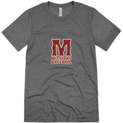 Men's tri-blend M logo with white edge