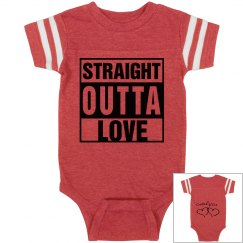Straight Outta Love Infant Football Bodysuit