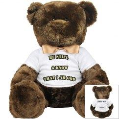 "Psalm 46:10 ""Be Still"" Brown Teddy Bear w/ White Shirt"